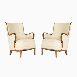 Swedish Lounge Chairs, 1940s, Set of 2