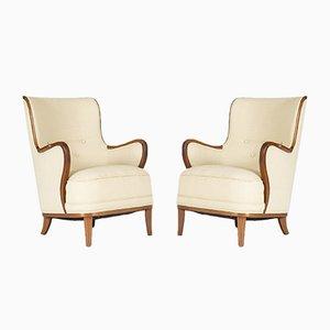 Swedish Lounge Chairs, 1940s, Set of 2
