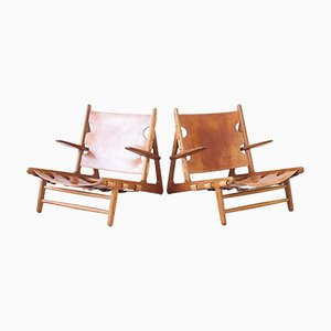 Hunting Chairs by Børge Mogensen for Erhard Rasmussen, 1950s, Set of 2