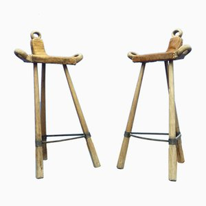 Spanish Cowhide Marbella Bar Stools, 1950s, Set of 2