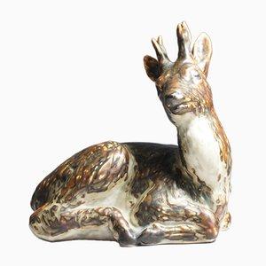 Cervo in ceramica di Knud Khyn per Royal Copenhagen, anni '50
