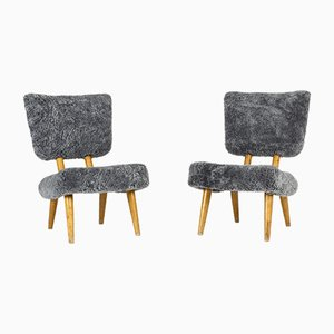 Norwegian Sheepskin Chairs, 1940s, Set of 2