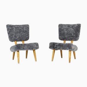 Norwegische Stühle mit Schaffell, 1940er, 2er Set