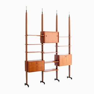 Italian Teak & Iron Wall Unit, 1950s