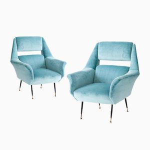 Turquoise Lounge Chairs by Gigi Radice for Minotti, 1950s, Set of 2