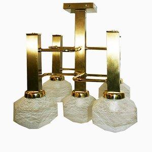 Italian Brass & Murano Glass Ceiling Lamp, 1980s