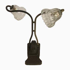 Lampe de Bureau Antique en Bronze avec Abat-Jours en Verre Murano, Italie, 1930s