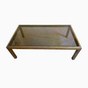 Mesa de centro vintage de latón y vidrio, años 70
