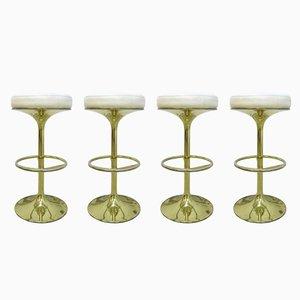 Tabourets de Bar Vintage en Cuir avec Pieds en Métal Plaqué Or par Börge Johanson pour Johanson Design Sweden, 1960s, Set de 4