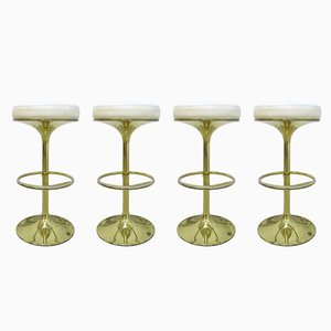 Vintage Leather Bar Stools with Gold Plated Metal Feet by Börge Johanson for Johanson Design, 1960s , Set of 4