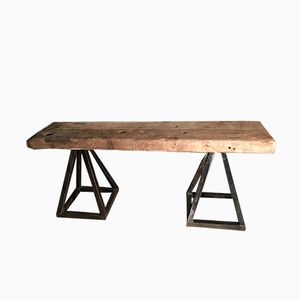 Table Console en Bois Massif & Fer Forgé, 1940s