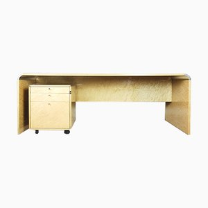 Italian Desk in Birdeye Maple by Giovanni Offredi for Saporiti, 1980s
