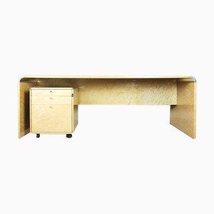 Italienischer Schreibtisch aus Vogelaugenahorn von Giovanni Offredi für Saporiti, 1980er