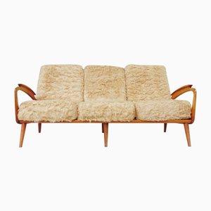 Skandinavisches Sofa mit Kunstfell, 1960er
