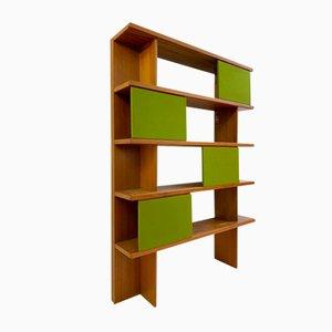 Libreria in legno e stoffa di Ilmari Tapiovaara per La Permanente Mobili Cantù, 1957