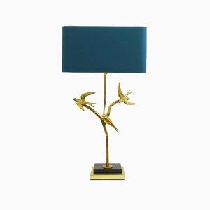 Lámpara de mesa Birds On Branches grande de latón, años 70
