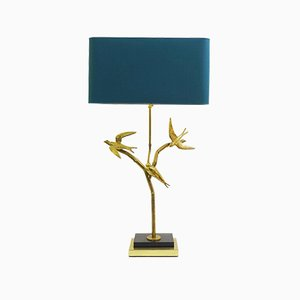 Large Brass Birds On Branches Table Lamp, 1970s