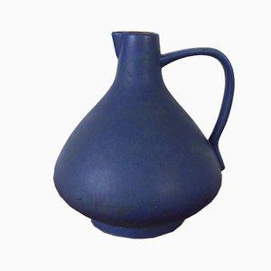 Große blaue Keramikvase mit Griffen von Hans Welling für Ceramano, 1950er