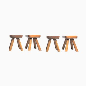 Solid Wood Stools, 1960s, Set of 4
