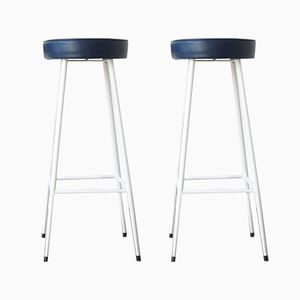 Vintage Vinyl & Metal Bar Stools, Set of 2