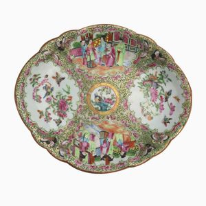 Chinese Canton Famille Rose Porcelain Lobed Dish, 1850s