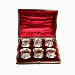 Antique Solid Silver Cased Napkin Rings, 1876