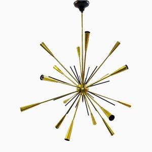 Lámpara de araña Sputnik italiana de latón, años 60