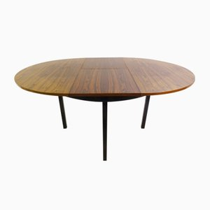 Vintage Rosewood Round Extendable Dining Table by Alfred Hendrickx
