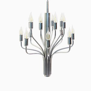 Vintage Chromed Metal Chandelier, 1970s