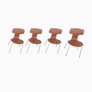 Sillas Hammer 3103 de Arne Jacobsen para Fritz Hansen, años 70. Juego de 4
