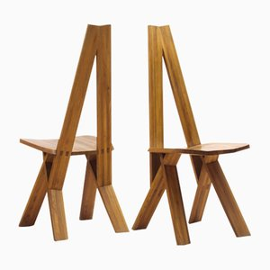 S45 Chlacc Chairs aus massivem Ulmenholz von Pierre Chapo, 1970er, 2er Set