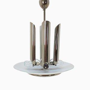 Lámpara colgante Art Déco de metal cromado, años 30