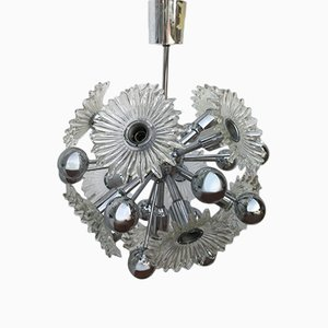 Sputnik Lamp with Glass Flowers, 1970s