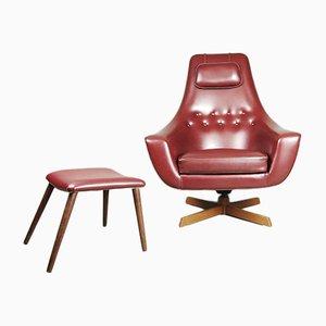 Schwedischer burgunderroter Egg Chair mit Fußhocker von S. M. Wincrantz, 1970er