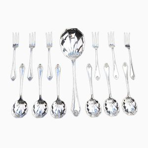 Antique Silver Plated Dessert Set from Israel Sigmond Greenberg, 1884