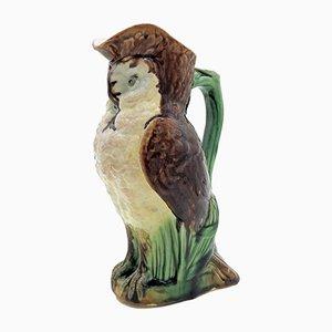 Brocca Owl 3 in maiolica di William Brownfield, Regno Unito, 1885