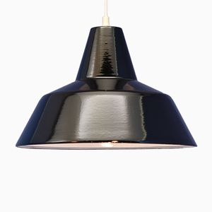 Lampe à Suspension Émaillée Noire de Louis Poulsen, Danemark, 1960s