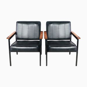 Mid-Century Black Vinyl Armchairs, 1970s, Set of 2