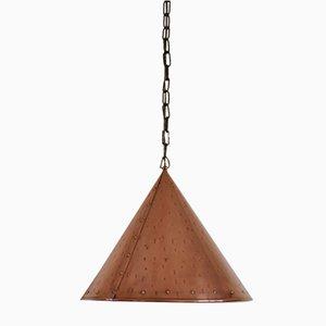 Lámpara colgante danesa vintage cónica de cobre, años 70