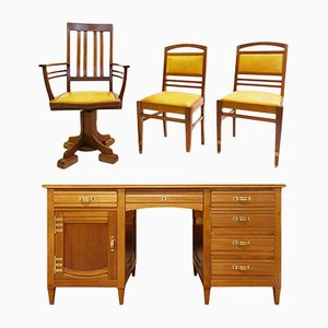 Model Bach Mahogany Desk & Chairs by Gustave Serrurier-Bovy, 1905