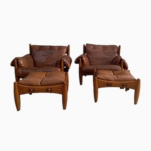 Vintage Sheriff Chairs with Ottomans by Sergio Rodrigues for ISA Bergamo, 1961, Set of 2