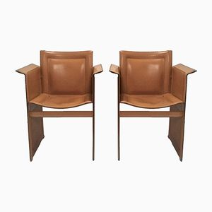 Vintage Italian Solaria Leather Armchairs from Arrben, 1980s, Set of 2