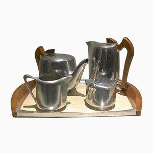 Englisches Vintage Tee- & Kaffeeservice aus Aluminium von Picquot Ware