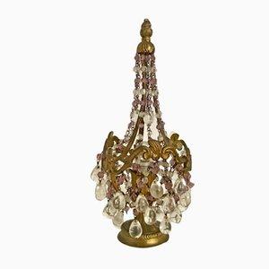 Lampe de Bureau Vintage en Bronze avec Perles en Verre Murano, 1930s
