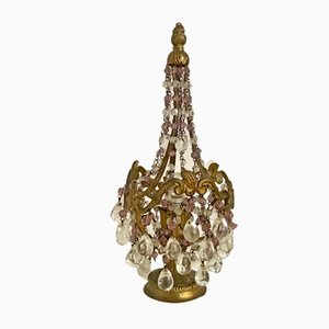 Vintage Bronze Table Lamp with Murano Glass Beads, 1930s