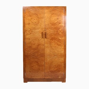 Art Deco Satin Birch Wardrobe, 1930s