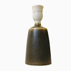Lámpara de mesa vintage de cerámica con esmaltado piel de liebre de Per Linnemann-Schmidt para Palshus, años 60