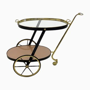 Vintage Brass & Black Metal Serving Bar Cart, 1960s