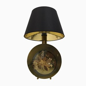 Regency Italian Brass Table Lamp with Flowers, 1970s