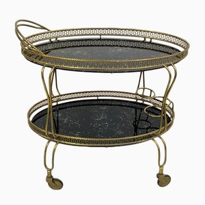 Vintage Italian Brass Serving Bar Cart, 1960s